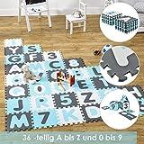 Juskys Kinder Puzzlematte Noah 36 Teile mit Buchstaben & Zahlen | rutschfest & abwischbar | Jungen ab 3 Jahre | Eva Schaumstoffmatte | Krabbelmatte