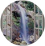 Rutschfreies Gummi-rundes Mauspad Hausdekor offenes Fenster sieht eine kleine Wasserkaskade die bergab fließt Freizeitbild Braungrün 7.9'x7.9'x3MM