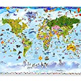murando Fototapete Weltkarte für Kinder 300x210 cm Vlies Tapeten Wandtapete XXL Moderne Wanddeko Design Wand Dekoration Wohnzimmer Schlafzimmer Büro Flur Kindertapete e-A-0102-a-a