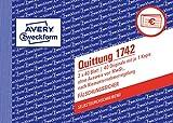 AVERY Zweckform 1742 Quittungsblock Kleinunternehmer (A6 quer, 2x40 Blatt, mit Durchschlag, fälschungssicher, ohne MwSt., für Deutschland und Österreich) weiß/gelb