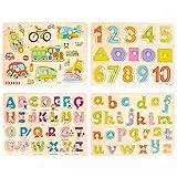 4 Stück Holzpuzzle Steckpuzzle für Kinder im Vorschulalter - Buchstaben, Zahlen pädagogisches Holzpuzzle Holzspielzeug - Hilft der Früherziehung und Intellektuellen Entwicklung