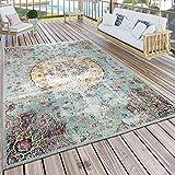 Paco Home In- & Outdoor Teppich Modern Orient Print Terrassen Teppich Wetterfest Türkis, Grösse:160x220 cm