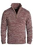 !Solid Philostrate Herren Strickpullover Troyer Grobstrick Pullover Aus 100% Baumwolle Mit Reißverschluss, Größe:M, Farbe:Wine Red Melange (8985)