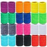 MOOKLIN 24 Packung Absorbierende Schweißbänder, Sport Wristbands Schweißband Set für Basketball Fußball Leichtathletik (12 Paar, Zufällige Farbe)
