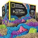 National Geographic Spielsand-Kombipackung – je 2 Pfund Blauer, lilafarbener und naturfarbener Sand mit Burgformen – eine kinetische sensorische Aktivität