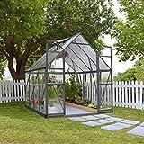 Palram Aluminium Gewächshaus, Gartenhaus, Tomatenhaus Balance 8x12 anthrazit // 366x243x231 cm // Treibhaus & Gartengewächshaus
