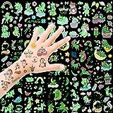 HOWAF Tattoo Kinder, Einhorn Tattoos Set, 300 Stück im Dunkeln leuchten Einhorn Tattoos Kinder, Einhorn & Regenbogen Temporäre Tattoos Kinder Aufkleber für Mädchen Kindergeburtstag Mitgebsel