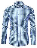 KOJOOIN Herren Trachtenhemd Slim fit  kariert Langarmhemd Bestickt Baumwolle- (Verpackung MEHRWEG), Blau, Gr.- M / 36