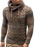 Leif Nelson Herren Strick-Pullover Strick-Pulli mit Kapuze Moderner Winter Woll-Pullover Langarm-Sweatshirt Slim Fit LN20227 Braun Large