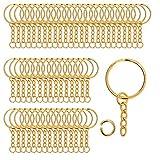 100 Stück Metall Split Schlüsselanhänger mit Kette und offenen Biegeringe 2,5 cm Durchmesser Split Schlüsselanhänger Ringe für DIY Handwerk, Schlüssel, Anhänger, Schmuckherstellung (Gold)