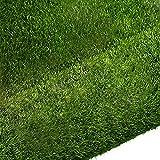 Quesuc Kunstrasen Teppich Springfield   Außenansicht für Terrasse und Balkon   Kunstrasen Wasserdurchlässig   Kann Drinnen und Draußen Verwendet Werden, Anti-UV Dunkelgrün 1CM Hoch (100x100 cm)