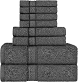 Utopia Towels - Handtuch Set aus Baumwolle - 2 Badetuch, 2 Handtücher und 4 Washclappen - 600 g/m² (Grau)