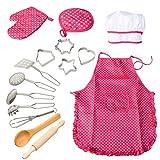 ThinkMax Chef Role Play Set mit Anzieh Kostüm und Küche Zubehör, Kinder vorgeben Spielen 15 Stück Spielzeug Set, Weihnachten und Geburtstagsparty (Rot)