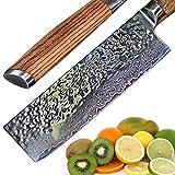 Ruka Damaststahl Küchenmesser, hämmeroptik, rasiermesserscharf und langlebig durch 67 lagigem damaszener Stahl, Nakiri-Messer mit ergonomischem Griff bekannt aus der japanischen Küche (17cm)