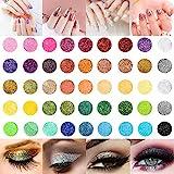 45 Clos Nail Art Glitter Powder Set, Haar Face Body Nagel Eye Make Up Festival Glitzer, Colour-changing Nagel Pigment Sequins for Children & Adult Art Projects School or Scrapbooking Decor