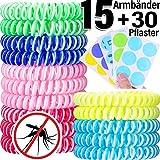 AYOUYA 15 Stück Mückenschutz Armband mit 30 Stück Mückenpflaster Mückenarmband Natürliche Insektenschutz gegen Mücken Moskito Geeignet für Outdoor Indoor Kinder Erwachsenen