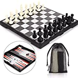 Peradix Schachspiel Magnetisch, Dame Spiel, Backgammon 3-in-1 Schach Magnetischem Reise Faltbarem mit Aufbewahrungsbeutel Deluxe Schachbrett Groß(3 In1)