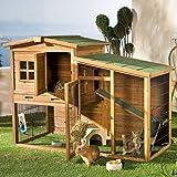 wetterfester Kaninchenstall mit Freigehege 160 x 80 x 117 cm Stall und Unterlauf mit Bitumendach 4 Türen und Reiningungswanne für Kaninchen Hasen Hühner Hühnerstall Hasenstall