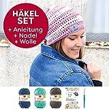 myboshi Häkel-Set Mütze IGA | aus No.2 | mit passender Häkelnadel | Sommermütze | Meerblau Titangrau Blaubeere