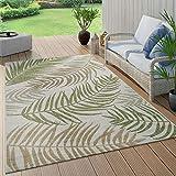 Paco Home In- & Outdoor Teppich Flachgewebe Modern Jungle Palmen Design In Pastell Grün, Grösse:80x150 cm