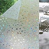 Shackcom 3D Fensterfolie Selbsthaftend Blickdicht Sichtschutz Sichtschutzfolie 60x200cm Statisch Haftend Anti-UV Dekorfolie für Bad Küche Büro Zuhause-Farbeffekt unter Licht S170