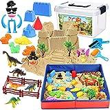 Tacobear Kinetic Sand Magic Sand Kinder Spielsand Set mit 3lbs Kinetischer Sand Faltbarer Sandkasten Dinosaurier Sandförmchen Werkzeuge Sandspielzeug Geschenk für Jungen Mädchen 3+ Jahre Alt