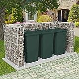 Festnight Gabione Mülltonnenbox Mülltonnenverkleidung für 3 Mülltonnen U-förmig 250 x 100 x 120 cm Stahl