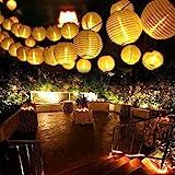 Qedertek Solar Lichterkette Lampion Außen 6 Meter 30 LED Laternen 2 Modi Wasserdicht Solar Beleuchtung für Garten, Hof, Hochzeit, Fest Deko (Warmweiß)
