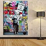 Orlco Art Graffiti Künstlerleinwand Gemälde Einstein Kunst Druck Straßenkunst Urbane Malerei Kunst Farbenfroh, canvas, Einstein, 48' X 32' (120 X 80cm)With the stretched