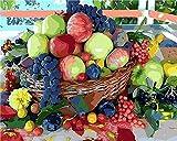 JkykppDIY Öl Set nach Zahlen Einfacher Fruchtextrakt DrawnHand Home Decoration PaintingOil Öl auf Leinwand DIY Anfänger 16X20 Zoll
