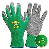 GRÜNTEK 5 Paar Gartenhandschuhe aus Polyesterfaser mit Latexbeschichtung, Gr. L/9, geeignet für den privaten und gewerblichen Gebrauch