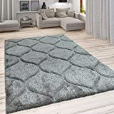 Paco Home Hochflor Teppich, Kuscheliger Wohnzimmer Pastell Shaggy, 3D Muster m. Soft Garn, Grösse:160x220 cm, Farbe:Grau