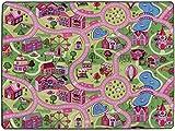 Spielteppich Autoteppich Straßenteppich Sweet City - 140x200 cm, Anti-Schmutz-Schicht, Auto-Spielteppich für Mädchen, Kinderteppich Strasse, Fußbodenheizung geeignet