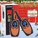 Bobela M880 Funkgerät für Kinder Walky Talky Set mit Kordel LCD Dispplay / 3Km Lange Reichweite Walkie Talkies 8 Kanal 0.5w PMR VOX Woki Toki Geschenke für Kinder ab 3 5 8 Jahre (2er Set, Orange)