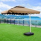 Hcyai Außen Parasol Cantilever Hängesonnenschirm Banana Sonnenschirm mit Kurbelsystem für Outdoor, Garten und Terrasse, 2.5 * 2.5M, mit Regenschirm Basis,04,8bone