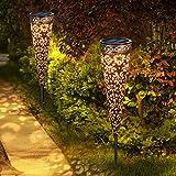 Görvitor Solarleuchten Garten Metall 2 Stück Solarlampen für Außen Garten, Görvitor LED Solar Gartenleuchten Warmweiß Gartenlicht Deko IP65 Wasserdichte für Außen Terrasse Rasen Weg