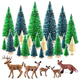 KUUQA 25 Stücke Mini Sisal Bäume Flasche Pinsel Bäume Schnee Frost Bäume mit Miniaturfiguren Wald Tiere Hirsch Fuchs Tischplatte Handwerk DIY Room Decor Mini Weihnachtsdorf Dekoration