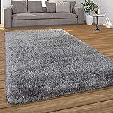 Paco Home Hochflor Teppich Wohnzimmer Shaggy, Pastell Farben, Weicher Soft Garn, Einfarbig, Grösse:120x170 cm, Farbe:Grau