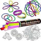 100 Knicklichter 7-FARBMIX, Testnote: 1,4 'SEHR GUT', Komplett-Set inkl. 100x TopFlex-, 2x Dreifach- und 2x Ball-Verbindern