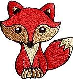 Fuchs Aufnäher Patches Aufnäher für Jacken Jeans Kleidung Stoff Kleider Aufnäher Bügelbilder Sticker Bügel Patches Applikation Aufbügler zum aufbügeln Fuchs rot Bronze 7.8 x 7 cm