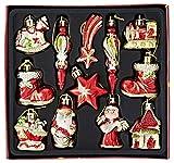 HEITMANN DECO Weihnachtsbaum-Schmuck - Behang-Set aus Kunststoff - Christbaum-Anhänger - 12-teilig - rot/Gold