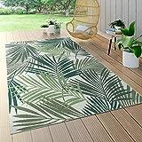 Paco Home In- & Outdoor Teppich Flachgewebe Jungel Gecarvtes Florales Palmen Design Grün, Grösse:160x230 cm
