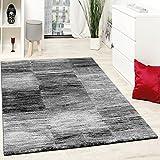 Paco Home Designer Teppich Modern Wohnzimmer Teppiche Kurzflor Karo Meliert Grau Schwarz, Grösse:200x280 cm