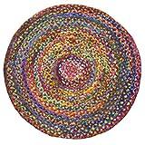 Indian Arts Geflochtener runder Chindi Flickenteppich, aus recycelter Baumwolle, Fair Trade, 150 x 150 cm