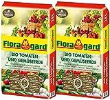 Floragard Bio Tomaten- und Gemüseerde 2x28 L - torfreduzierte Spezialerde für Tomaten, Salat, Paprika, Gurken und anderes Gemüse