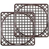 com-four® 2 Spülbeckenmatten universal, Spülmatte schützt die Oberfläche der Spüle und das Geschirr, zuschneidbar in rund (2 Stück - braun)