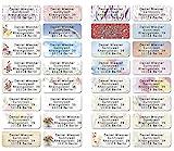 Mix gemischt Adress-Etiketten - Adress-Aufkleber Sticker mit Ihrem Wunschtext 53x 21mm, für 1 bis 5 Zeilen Text – 110 Stück – 38 Hintergründe zur Auswahl Etiketten