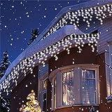 600er LED 15m Eisregen Lichterkette Lichtervorhang Eiszapfen Außen Innen Deko für Garten Party Hochzeit Strombetrieben mit Stecker Gresonic [Energieklasse A+] (Kaltweiß, Timer)