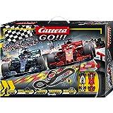 Carrera GO!!! Speed Grip Rennstrecken-Set | 5,3m Rennbahn mit Vettels Ferrari SF71H & Hamiltons Mercedes-AMG F1 W09 EQ Power+ | mit 2 Handreglern & Streckenteilen | Kinder ab 6 Jahren & Erwachsene