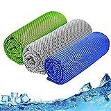 SenluKit 3er Kühlhandtuch, 120 x 30cm Cooling Towel Cool Towel Set Kühlendes Microfaser Handtuch Kühltuch Set Bambus Kühltuch für Golf Fitness Laufen Sport